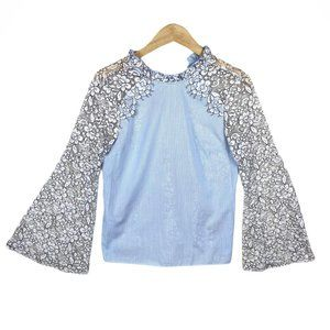 Topshop Flowy Blouse with Lacey Floral Long Sleeve